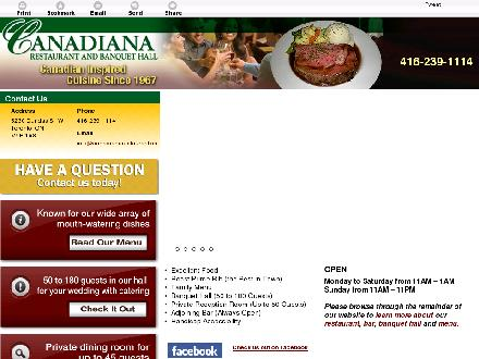 Canadiana Restaurant (647-800-7009) - Onglet de site Web - http://canadianarestaurant.ca/