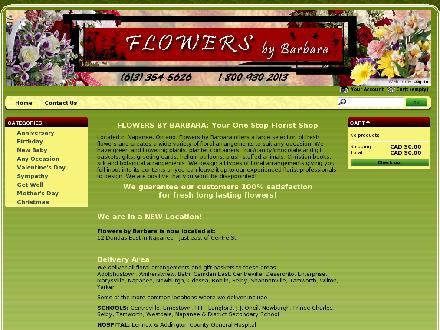 Flowers By Barbara (613-354-5626) - Website thumbnail - http://www.flowersbybarbara.ca