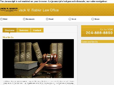 Jack M Rabkin Law Office (204-888-8890) - Onglet de site Web - http://jackmrabkin.ca/