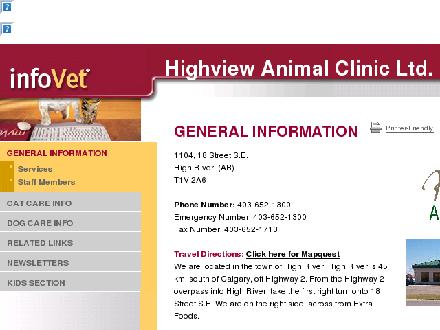 Highview Animal Clinic Ltd (403-652-1300) - Onglet de site Web - http://www.highviewvet.infovet.ca