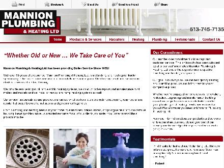 Mannion Plumbing & Heating Ltd (613-745-7135) - Website thumbnail - http://www.mannionboilerservice.com