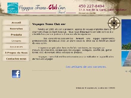 Agence Voyages Trans-Club (450-227-8494) - Onglet de site Web - http://www.transclub.ca