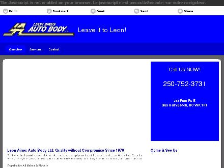 Leon Aines Auto Body Ltd (250-752-7788) - Website thumbnail - http://leonainesautobody.ca/