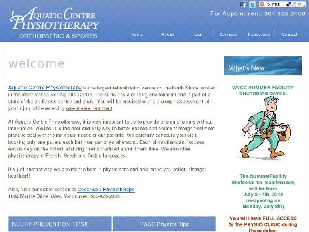 Aquatic Centre Physio (604-925-3408) - Website thumbnail - http://www.acphysio.com
