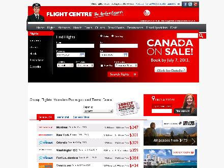 Flight Centre (1-877-489-3216) - Onglet de site Web - http://www.flightcentre.ca
