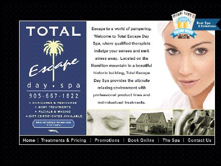 Total Escape Day Spa (905-667-1822) - Onglet de site Web - http://www.totalescapespa.com