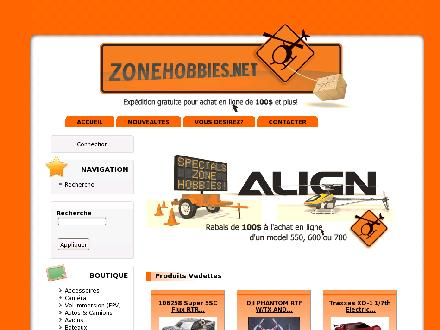 Zonehobbies (514-267-4848) - Website thumbnail - http://www.zonehobbies.net