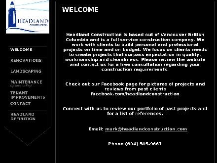 Headland Construction (604-505-9667) - Onglet de site Web - http://www.headlandconstruction.com