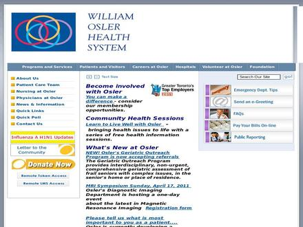 William Osler Health System (905-494-2120) - Website thumbnail - http://www.williamoslerhs.on.ca