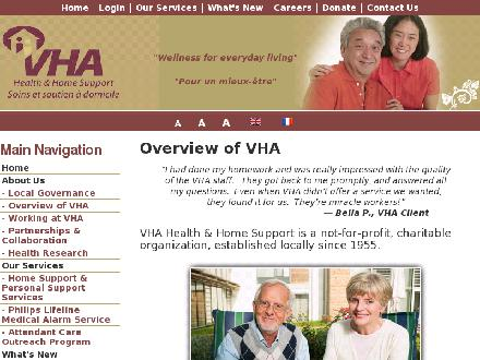 VHA Health And Home Support (613-604-0373) - Website thumbnail - http://www.vhaottawa.ca