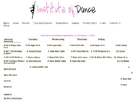 Institute Of Dance Of Manitoba Incorp (204-257-8528) - Onglet de site Web - http://www.instituteofdancemb.com/