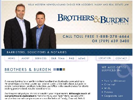 Brothers & Burden Law Offices (709-639-3400) - Website thumbnail - http://www.brothersandburden.com