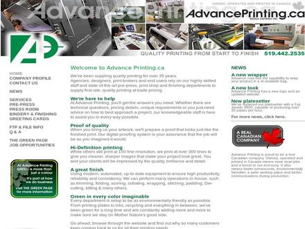 Advance Printing (519-442-2535) - Onglet de site Web - http://www.advanceprinting.ca