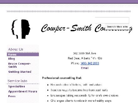 Cowper-Smith Counselling (403-342-2889) - Onglet de site Web - http://www.cowper-smith.com