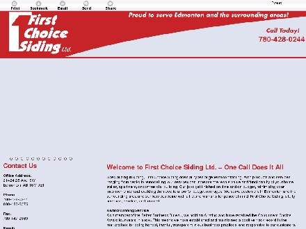 First Choice Siding & Windows Ltd (780-613-0242) - Onglet de site Web - http://firstchoicesidingltd.ca/