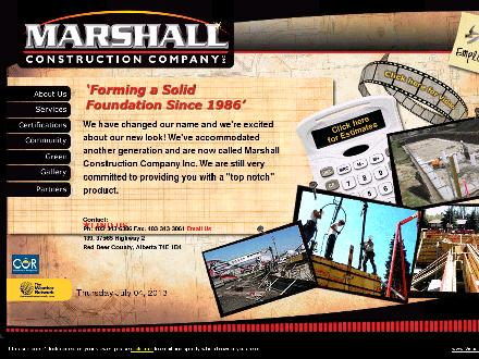 Marshall Construction Co Inc (403-343-6386) - Website thumbnail - http://www.marshallconstruction.ca
