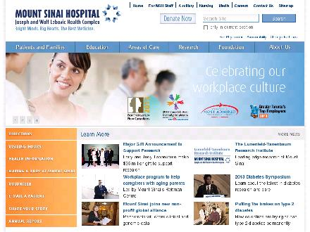 Mount Sinai Hospital (416-596-4200) - Onglet de site Web - http://www.mtsinai.on.ca