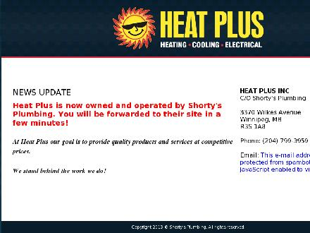 Heat Plus Heating & Cooling (204-779-4328) - Onglet de site Web - http://www.heatplus.ca