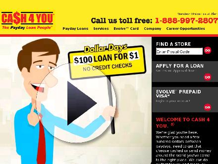Cash 4 You (416-751-5000) - Website thumbnail - http://www.cash4you.ca
