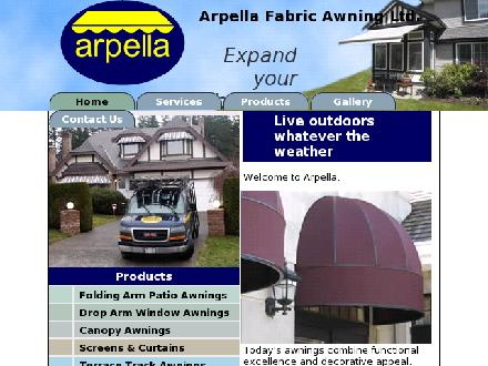 Arpella Fabric Awning Ltd (604-729-2111) - Onglet de site Web - http://www.arpella.com