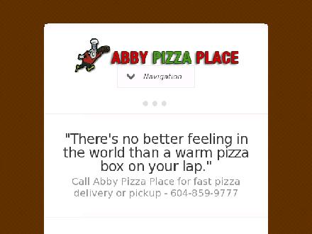 Abby Pizza Place Ltd (604-852-5340) - Website thumbnail - http://www.abbypizzaplace.com