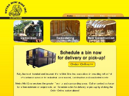 Metro Mini Bins (416-588-6669) - Website thumbnail - http://www.metrominibins.com
