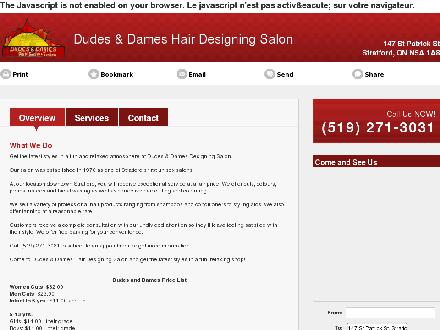 Dudes & Dames Hair Designing Salon (519-271-3031) - Website thumbnail - http://dudesanddameshairsalon.com/