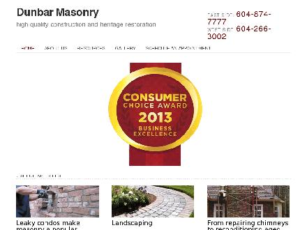 Dunbar Masonry &amp; Construction Ltd (604-266-3002) - Onglet de site Web - http://www.dunbarmasonry.ca
