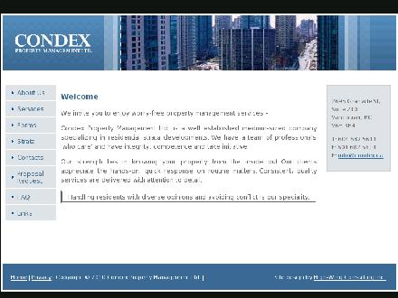 Condex Property Management Ltd (604-682-5611) - Website thumbnail - http://www.condex.ca