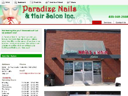 Paradize Nails & Hair Salon Inc (403-948-2668) - Onglet de site Web - http://www.paradizenail.com