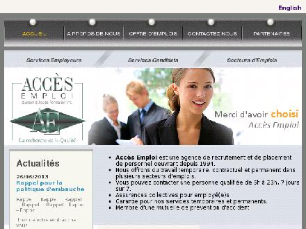Acc&egrave;s Formation Inc (514-341-8803) - Onglet de site Web - http://www.accesemploi.qc.ca