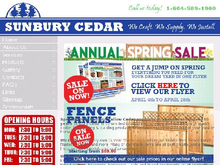 Sunbury Cedar (604-589-1900) - Onglet de site Web - http://www.sunburycedar.com