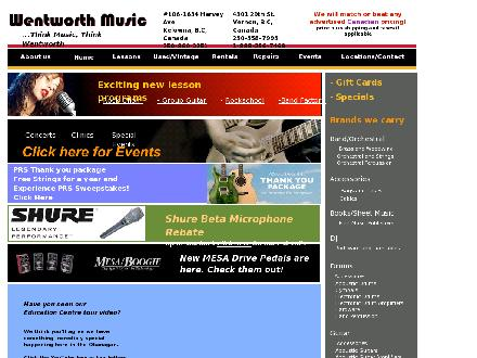 Wentworth Music (250-558-7995) - Onglet de site Web - http://www.wentworthmusic.ca