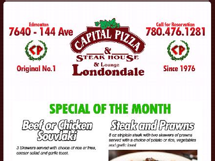 Capital Pizza & Steakhouse (780-401-1957) - Website thumbnail - http://www.capitalpizza.ca