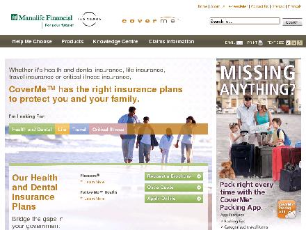 Manulife Financial (1-877-268-3763) - Onglet de site Web - http://www.coverme.com