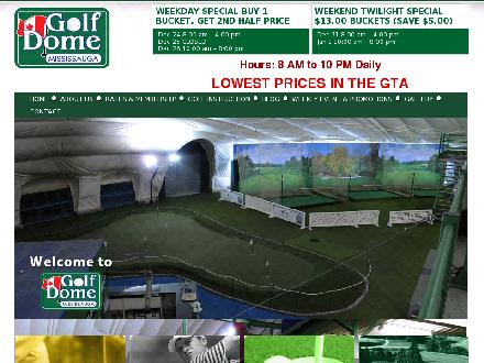 GOLF DOME MISSISSAUGA (905-564-4800) - Onglet de site Web - http://www.golfdomemississauga.com