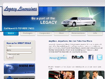 Legacy Limousines (613-737-7433) - Onglet de site Web - http://www.legacylimousines.ca