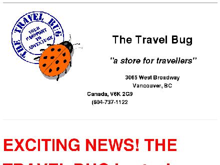 Travel Bug (604-737-1122) - Onglet de site Web - http://www.travelbugbooks.ca