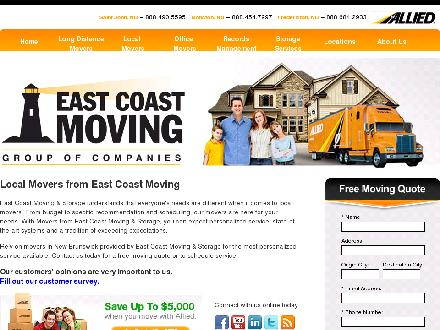 East Coast Moving &amp; Warehousing/Allied Van Lines Canada Agent (506-858-1000) - Onglet de site Web - http://www.eastcoastmoving.com