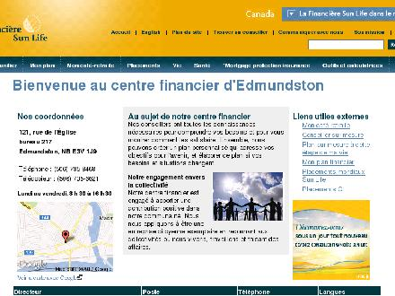 Sun Life Financial (506-735-8468) - Onglet de site Web - http://www.sunlife.ca/Edmundston