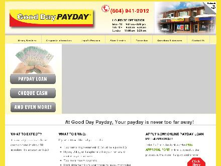 Good Day Payday (604-941-2012) - Onglet de site Web - http://www.GoodDayPayday.com