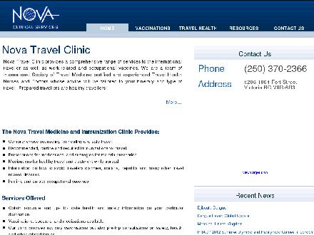 Nova Travel Clinic (250-370-2366) - Onglet de site Web - http://www.novatravelclinic.com
