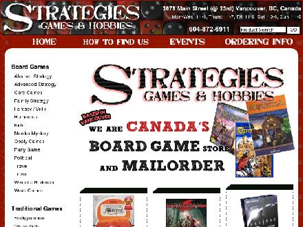 Strategies Games & Hobbies (604-872-6911) - Website thumbnail - http://www.strategiesgames.ca