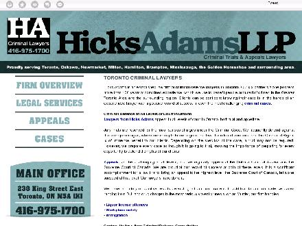 Hicks Adams LLP (647-800-2253) - Website thumbnail - http://hicksadams.ca/