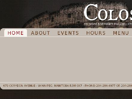 Colosseo Ristorante Italiano (204-284-4977) - Website thumbnail - http://www.colosseo.ca
