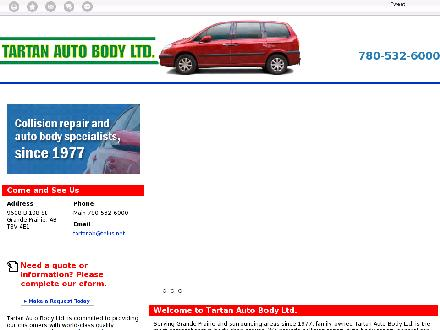Tartan Auto Body Ltd (780-357-7241) - Onglet de site Web - http://tartanautobody.ca