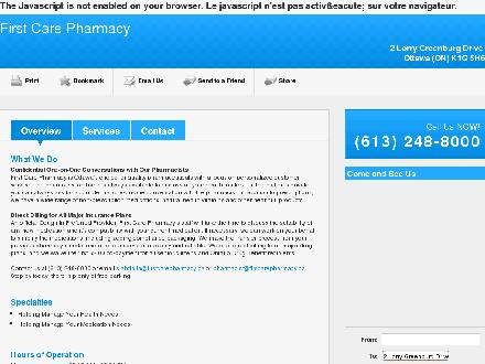 First Care Pharmacy (613-248-8000) - Onglet de site Web - http://firstcarepharmacy.ca