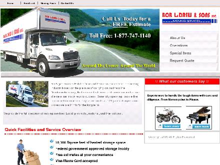 Bob LeDrew & Sons Inc Moving Services (1-888-229-2067) - Onglet de site Web - http://www.ledrewmoving.ca