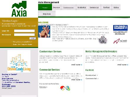 Axia Property Management (613-738-9700) - Onglet de site Web - http://www.axiamanagement.com