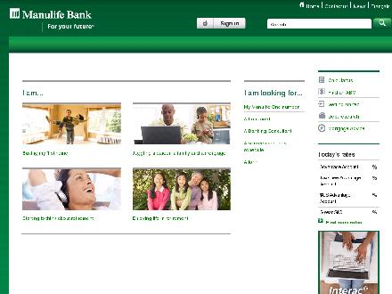 Manulife Financial (1-877-765-2265) - Onglet de site Web - http://www.manulifebank.ca